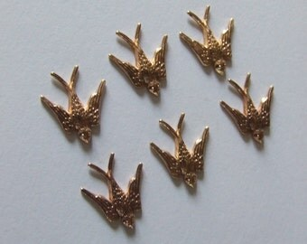 Vintage Swallow Birds in Flight, Original Jewellery Findings/Stampings X 12; Gold Plated