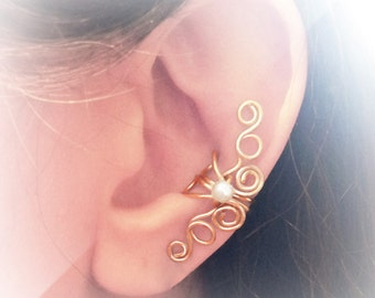 Gold Ear Cuff 24K gold plated Ear Wrap White Pearl