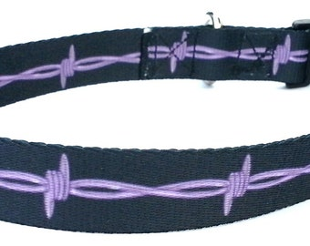 "Large Dog Collar, Barbed Wire Design Dog Collar,  Adjustable or Custom Made Dog Collar 1"" wide"