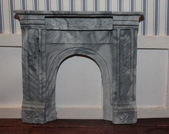 DOLLHOUSE MINIATURE Victorian Fireplace, Stone/Marble Finish