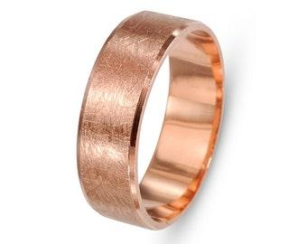 Florentine 14k Rose Gold Wedding Ring, Brushed Gold Ring, Rose Gold Wedding Band, Ring Rose Gold, 14k Gold Wedding Ring, 14k Rose Gold Ring.