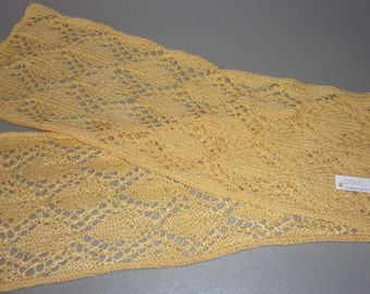 "Honey Colored Gothic Leaf Knitted Scarf with Beading - 7"" x 54"""
