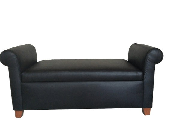 Pvc Leather Storage Tufted Ottoman With Arm By Fancydecor