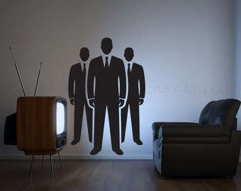 Men in suits wall decal, business wall decal, living room decal, man cave wall decor, studio wall decal, business men sticker, vinyl decal
