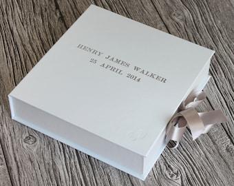 Personalised handmade baby keepsake box / memory box in classic white leather / baby footprint & ribbon box tie