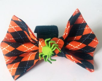 Black and Orange Agyle Halloween  Dog & Cat Bow Tie for Collar