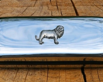 Lion Metal Pen Case & Ball Point Set Personalised Engraved Gift