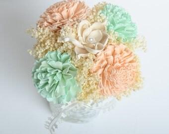 Peach and Mint Sola Flower Centerpiece, Wedding Centerpiece, Keepsake Centerpiece