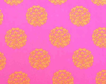 Designer fabric by the yard, premium quilting cotton in pink orange by Paula Prass for Michael Miller. Need more fabric yardage? Just ask.