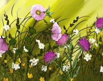"Original digital floral painting  by Nancy Long ""Summer Field of Roses"" grass field and pink flowers, hummingbird. Nancylongdesigns"