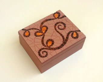 Wooden mosaic jewellery box