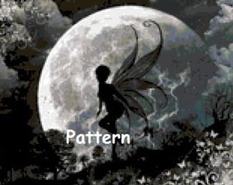 Moon fairy. Cross Stitch Pattern. PDF Files.