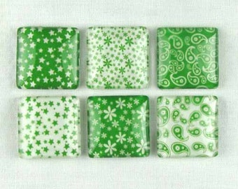 Set of Six Magnets Refrigerator Locker Paisley, Stars, and Flowers in Green
