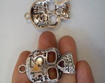 10 large skull charm pendant tibetan silver antique silver tone wholesale