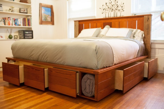 items similar to king size captain 39 s bed with storage made from reclaimed redwood and oak on etsy. Black Bedroom Furniture Sets. Home Design Ideas