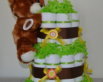 2 Tier Cloth Diaper Cake with Toy - Green (Gender Neutral)