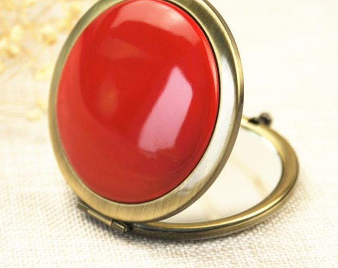 Elegant Solid Color Ceramic Compact Mirrorr /Pocket Mirror Red/Sky Blue/White