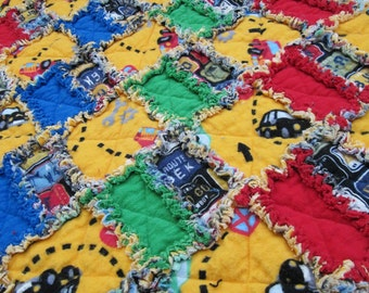 Cars Rag Quilt for Boy's Toddler Bed - yellow, green, blue, red, cars, multicolor, bright, baby boy, toddler blanket, primary colors,