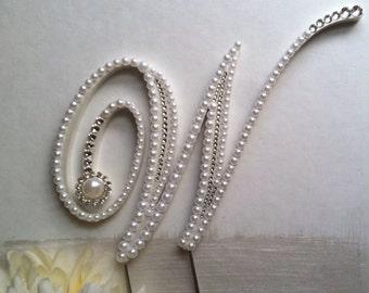 Wedding Cake Topper Pearl Monogram Cake Topper w/ Swarovski Crystals Destination Wedding Winter Wedding Any Letter A to Z Letter W
