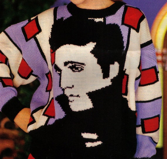 Knitting Pattern For Elvis Jumper : REtro WOMeNS KING oF THe KNiT PARaDe Elvis PICtUre JUMPeR