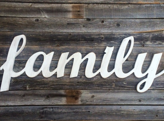 Wooden Words Wall Art : Family large wooden letters script word wall art