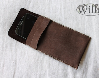 handmade brown leather phone cover iphone smartphone