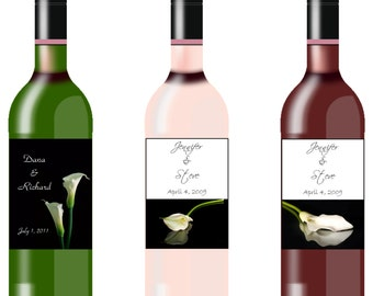 Calla Lily Wine Bottle Labels Quantity of 10 - 6 Design Options Available