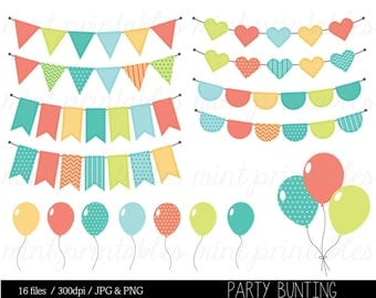 Bunting Clipart Clip Art, Birthday Clipart, Balloon Clipart, Birthday Invitation, Party - Commercial & Personal - BUY 2 GET 1 FREE!