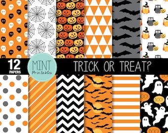 Halloween Scrapbooking Paper, Digital Paper, Patterned Paper, Printable Sheets black orange pumpkin chevron background - BUY 2 GET 1 FREE!