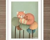 Melting Panda / A3 Illustration Print / painting / artwork/ drawing/ panda