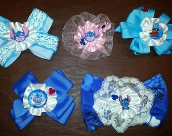 Disney Stitch Hair Bow Clip Fabric Lace Satin or Grosgarin
