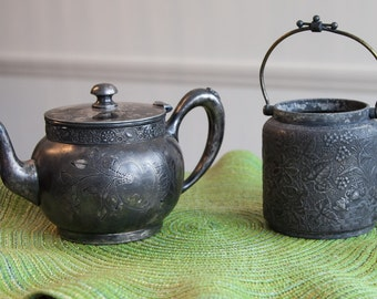 Barbour Bros silver teapot; silver tea pot and bow; Middletown antique silverplate floral sugar bow