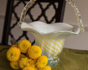 Glass Basket With Handle