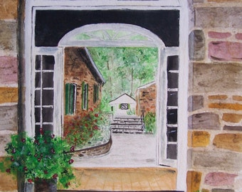 """Watercolor painting,original painting,scenic and landscape painting, """"THE OTHER SIDE"""",8.25""""w x 11""""h"""