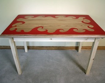 """Repurposed """"Fireside"""" Table - Ash Top with Custom Paint Job and Pine Base"""