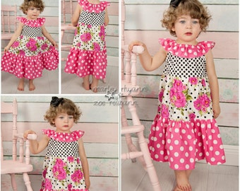 Pink Floral Tiered Peasant Dress,Sweet Honey Inspired