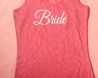 Juniors Half Lace Coral Tank Top / Juniors Bride To Be Tank Top / Bridesmaid Tank Tops / Wedding Party T-shirts / Lace Back Bride Shirt