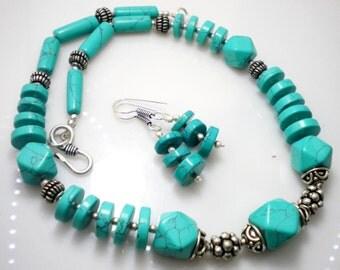 Fashionable Turquoise Beads Designer Costume Necklace Set NK-236