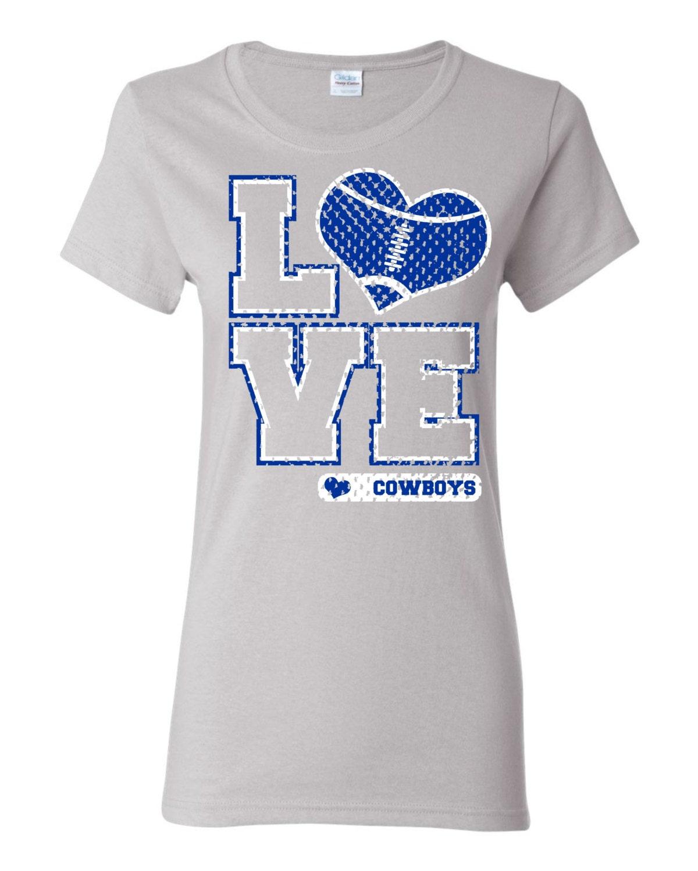 Love cowboys football heart custom t shirt free shipping for Custom t shirts international shipping