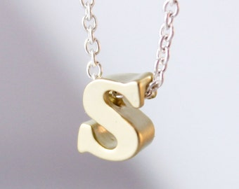 Tiny Gold Letter Necklace - Gold Initial Necklace, Personalized, Monogram Necklace, Everyday Jewelry, Minimalist and Simple