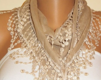 Beige Latte Cotton Scarf, Cream Lace Scarf, Womens Fashion, Gift for Her, Mothers Gift, Fashion Cotton Scarves, Birthday Gift, Elegant, Chic