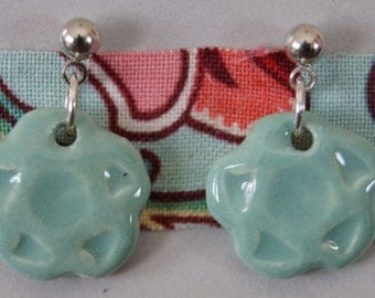 Ceramic post earrings in sea green