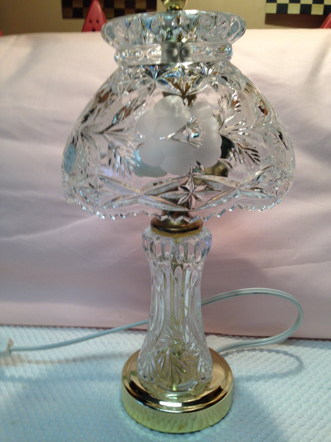 Vintage 24 Heavy Lead Crystal 12 Table Lamp And Lead