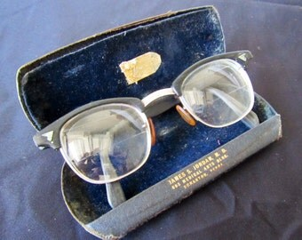 Vintage Antique Eye Glasses Eye Wear with case