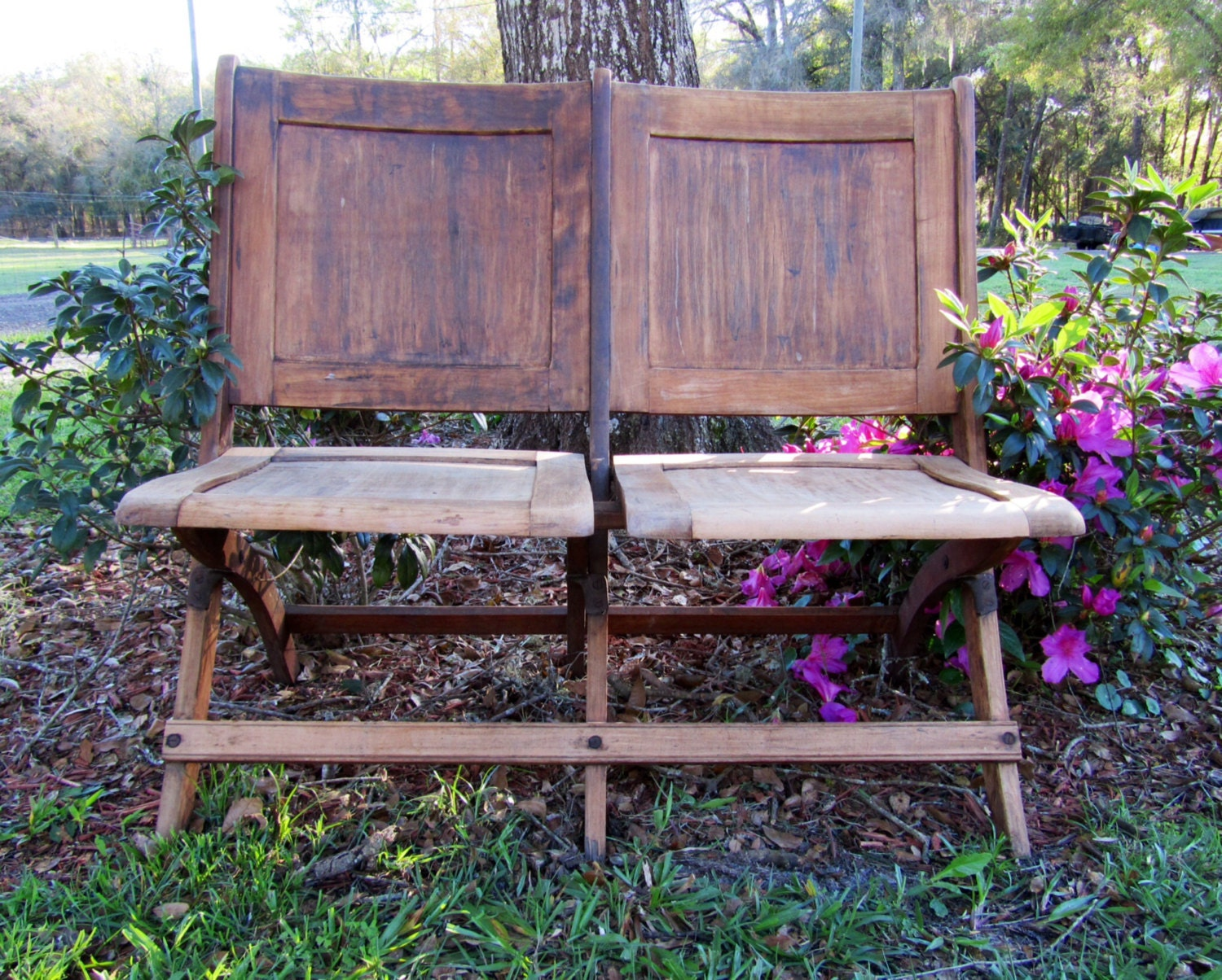 Fine Antique Vintage Folding Solid Wood Church Pew Two Seat Pew Caraccident5 Cool Chair Designs And Ideas Caraccident5Info