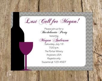 Wine Tasting Bachelorette Party Bridal Shower Invitation, Chevron Design, Digital Printable File