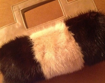 SUPER SALE, Small mink fur bag, has extra pockets for warming hands. Beige and brown.