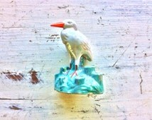 Lusterware Great Heron, Stork Figurine Flower Frog, Luster Bird, Decorative Flower Frog