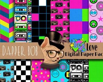 I Love the 80's Digital Scrapbook Paper Pack