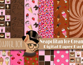 Neapolatin Ice Cream Digital Paper Pack for Scrap-booking and Paper Craft